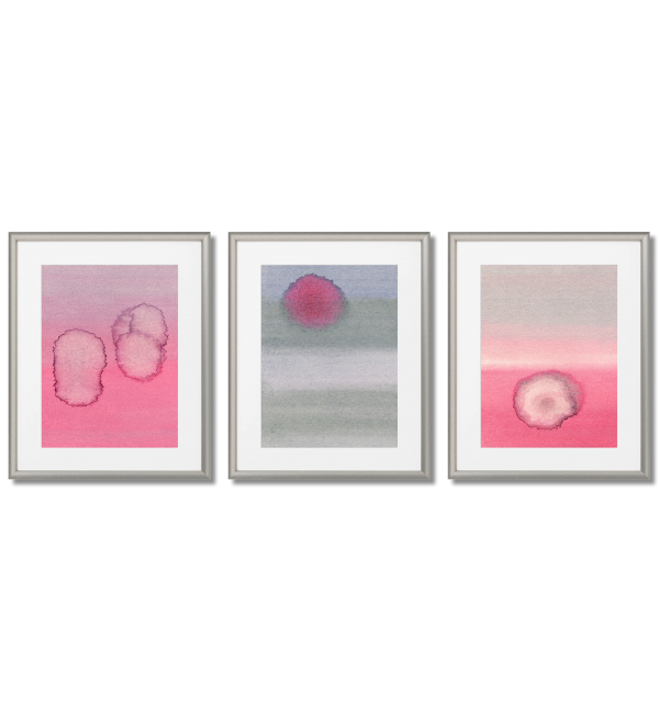 FASHIONABLE GRAY AND PINK WATERCOLOR POSTERS