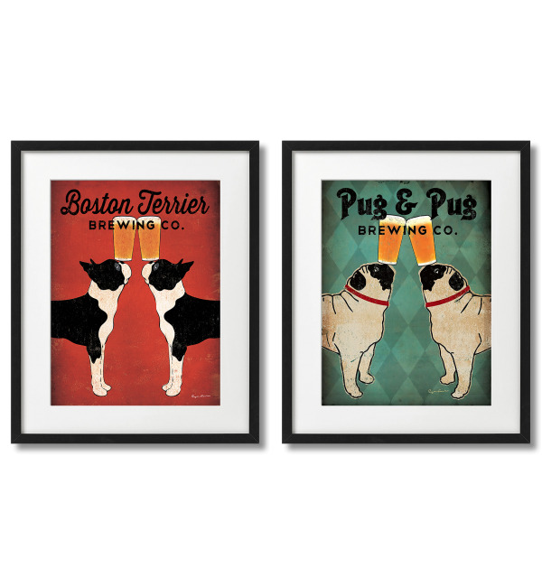 BOSTON TERRIERS AND PUGS WITH BEER, 2 FRAMED POSTERS