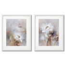 WHITE FLOWER POSTERS WITH BEIGE BACKGROUND