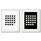 MODERN POSTER WITH BLACK AND WHITE HEARTS