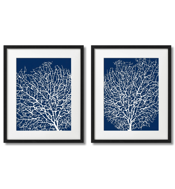 WHITE CORALS ON BLUE BACKGROUND