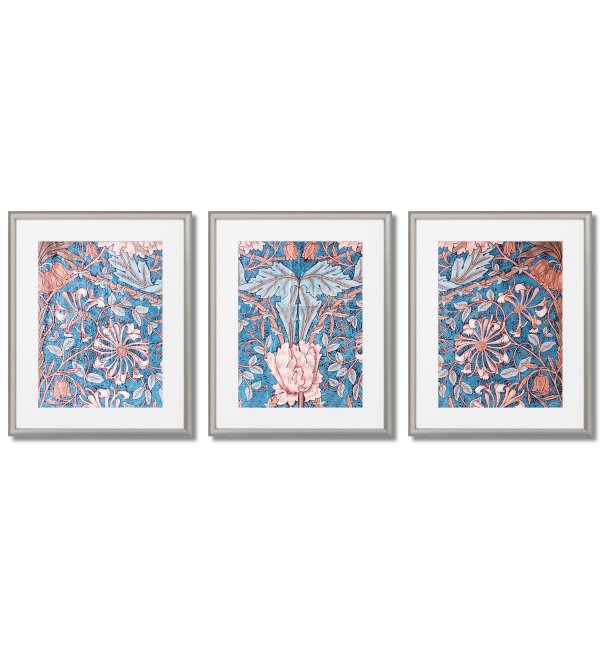 WILLIAM MORRIS - AIR SUPERIORITY BLUE AND CORAL FLOWER POSTERS
