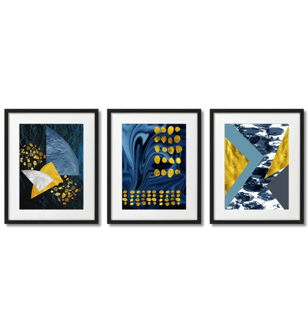 TURQUOISE AND GOLDEN GEOMETRIC ABSTRACTIONS
