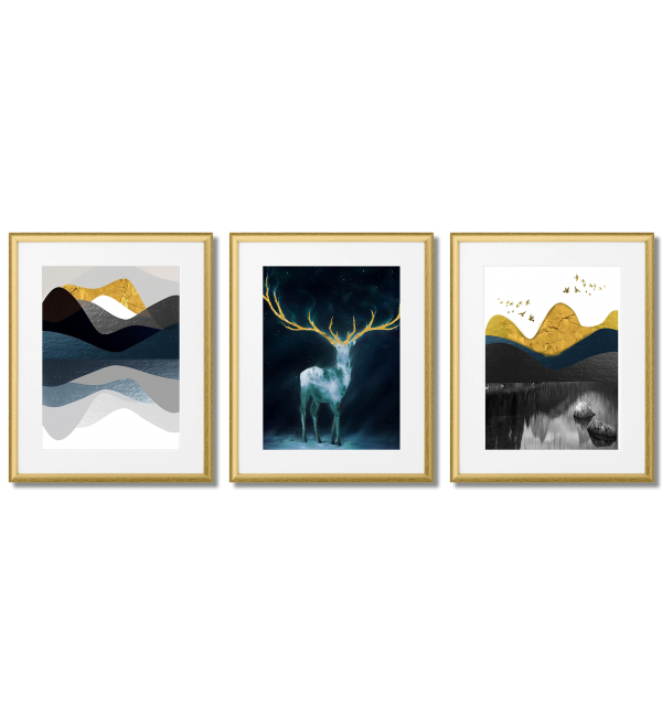 MODERN NAVY POSTERS - DEER WITH GOLD