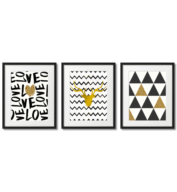 SCANDINAVIAN-THEMED GOLDEN AND BLACK TRIANGLES AND STRIPES