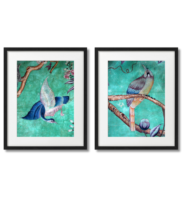 ROBIN-EGG-BLUE POSTERS WITH ORIENTAL BIRDS