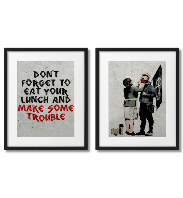 BANKSY - PUNK WITH HIS MOTHER