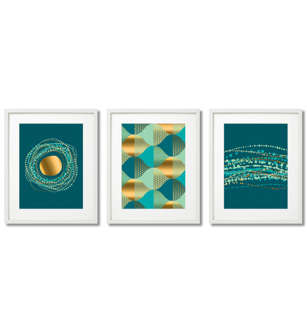 BOHO POSTERS, DARK TURQUOISE AND GOLDEN