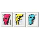 THREE COLORFUL FACES, GRAFFITI-STYLED POSTERS