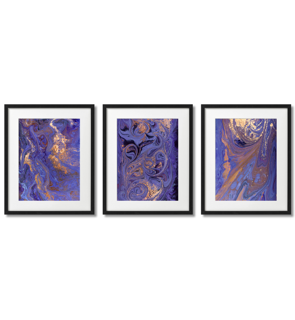 PURPLE AND GOLDEN MARBLE POSTERS