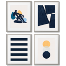 MODERN POSTERS NAVY -  MINIMALISM, STRIPES, A Set of 4 Posters