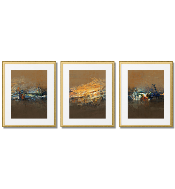 BEAUTIFUL TRYPTYCH ABSTRACTIONS BROWN COLOURS