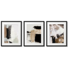 Brown-beige abstractions, 3 posters in frames