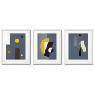 CHARLES GREEN SHAW ABSTRACTIONS GRAY YELLOW GEOMETRY