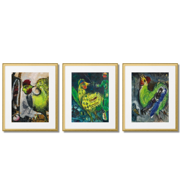 MARC CHAGALL, GREEN ROOSTERS