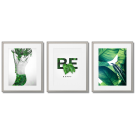 BE HAPPY, GREEN AND WHITE POSTERS WITH LEAVES, NATURE