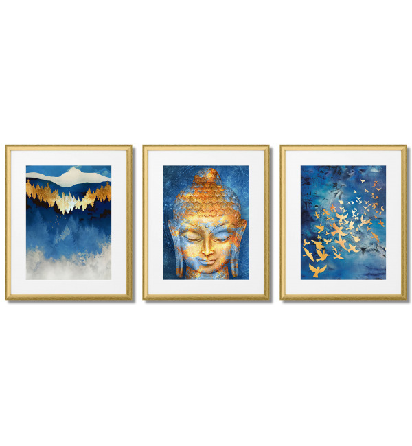 GOLD - BLUE POSTERS WITH BUDDHA
