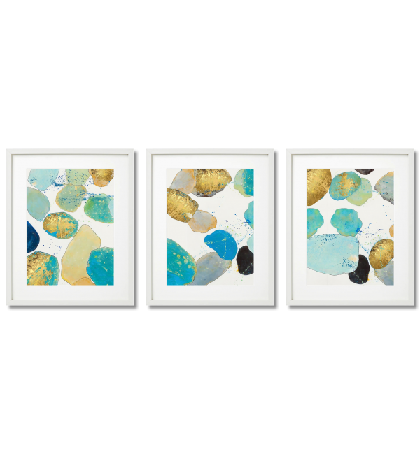TURQUOISE AND GOLD STONES - MODERN ABSTRACTIONS