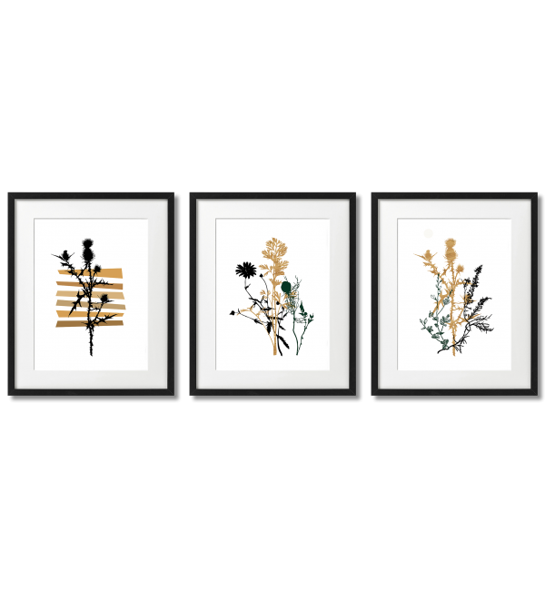 SCANDINAVIAN POSTERS BLACK AND MUSTARD COLOURED PLANTS