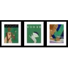 ART DECO VOGUE GREEN ILLUSTRATIONS POSTERS FRAMED