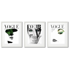 VOGUE BEAUTIFUL COVERS WITH GREEN DETAILS FRAMED