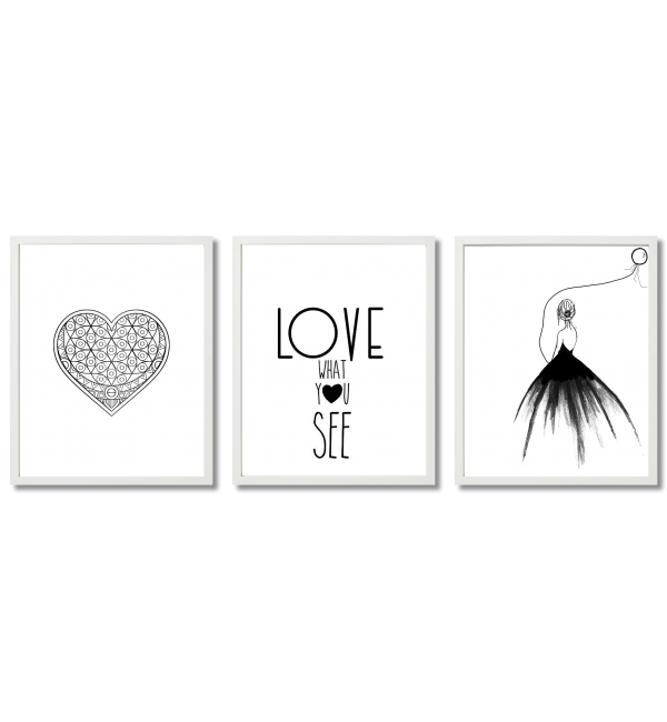 BLACK AND WHITE GLAMOUR GRAPHICS WITH A HEART