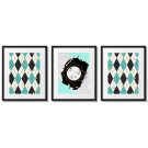 MINT-COLOURED POSTERS, RHOMBUS PATTERN