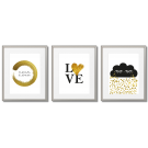 GOLDEN SCANDINAVIAN POSTERS WITH INSCRIPTED LOVE