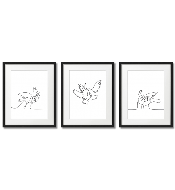 WITH ONE LINE, PIGEONS, WHITE, MINIMALIST POSTERS
