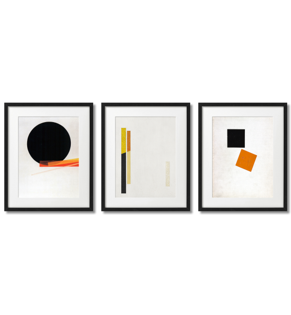 MODERN GEOMETRIC POSTERS WITH AN ORANGE ACCENT.