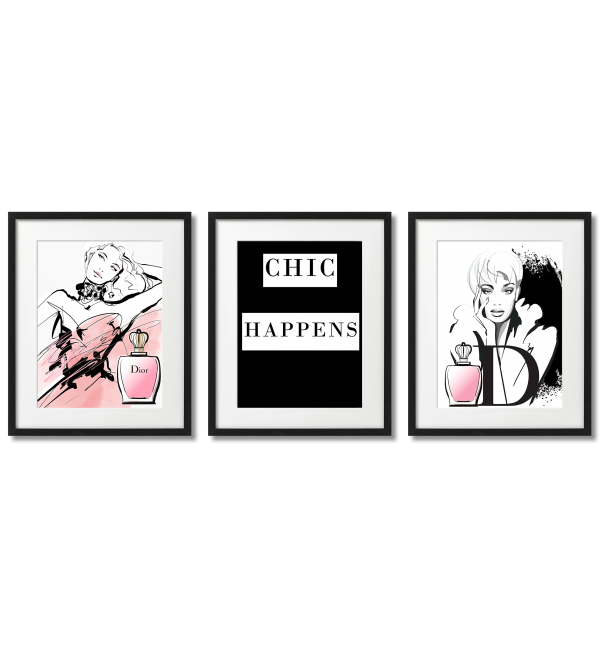 CHICK HAPPENS GLAMOR POSTERS WITH DIOR PERFUMES
