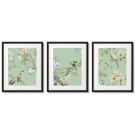 STYLISH CELADON POSTERS WITH BIRDS AND FLOWERS
